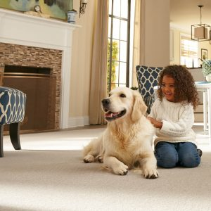 Kid with dog on Carpet | Thornton Flooring