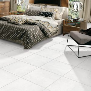 White Tile flooring of bedroom | Thornton Flooring